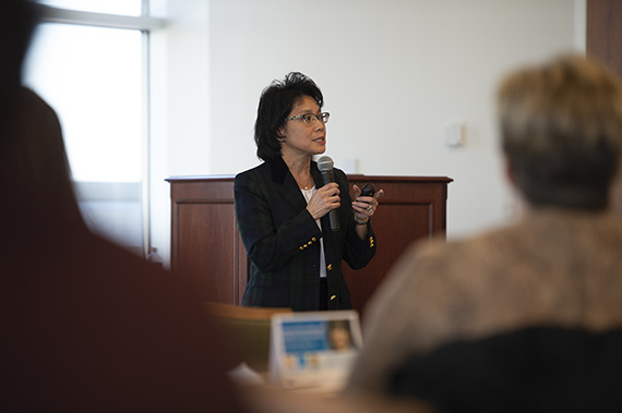 Dr. Cynthia Romero talks during a presentation to faculty.