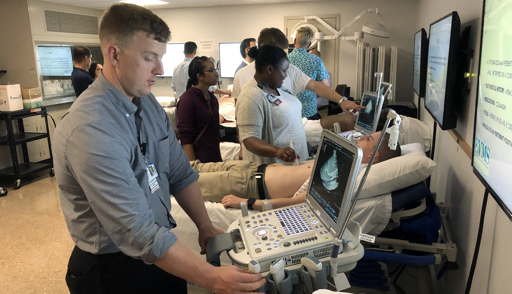 Ghent Family Medicine residents hone their ultrasound skills in the lab.