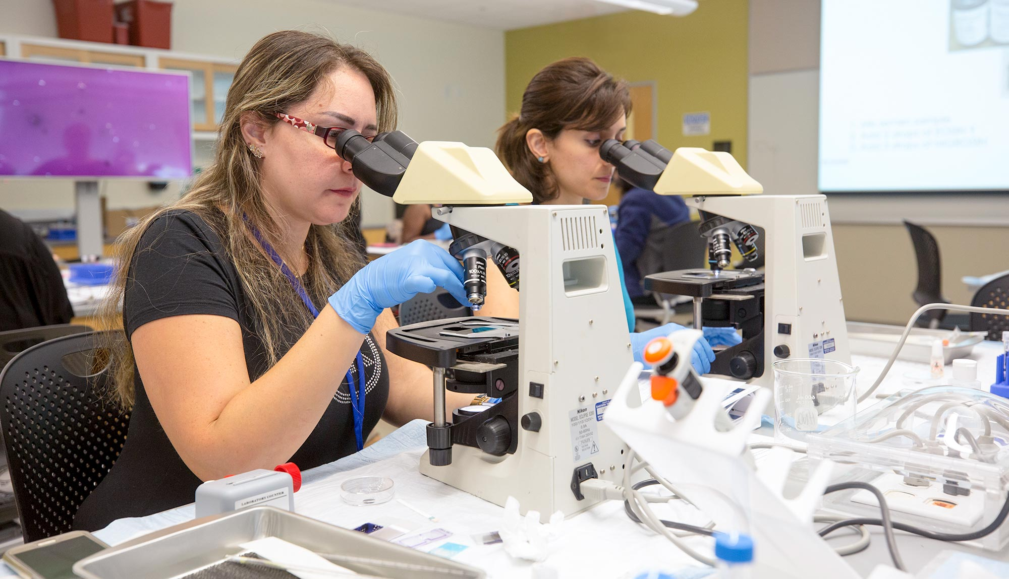 Students look through microscopes in a laboratory setting.