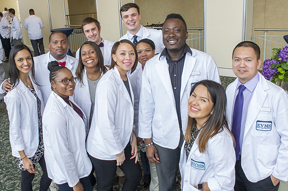 Physician Assistant students pose for a group photo at the White Coat Ceremony.