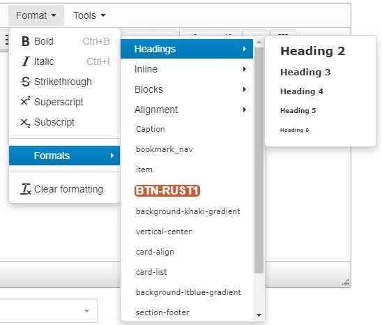 Under the Format menu in the text editor, hover over Formats to open a submenu and hover over Headings to open a submenu of heading options (Heading 2 to Heading 6), then select the appropriate heading.