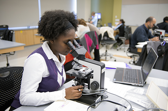 A student studies a sample under a microscope.