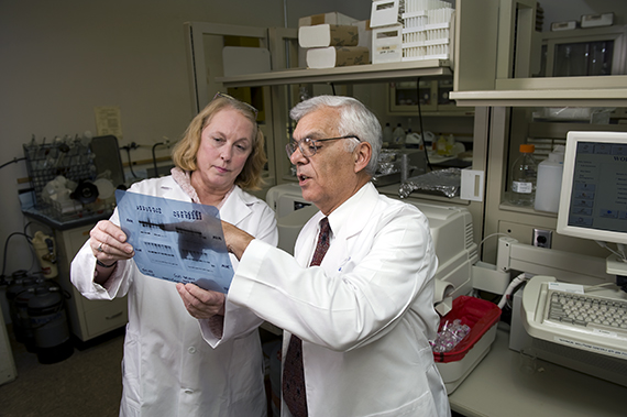 Dr. Gerald Pepe and Marcia Burch in the lab.