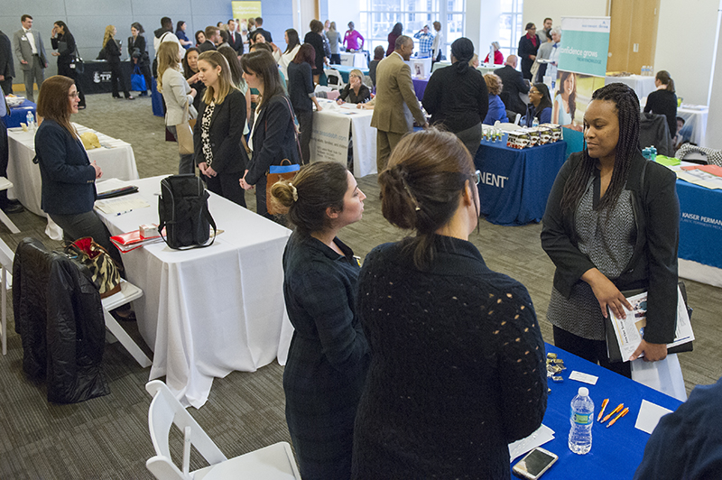Graduating students and alumni came to Lester Hall Friday, Feb. 3, for the school's annual job fair. On site were dozens of employers recruiting for a range of positions in Hampton Roads.