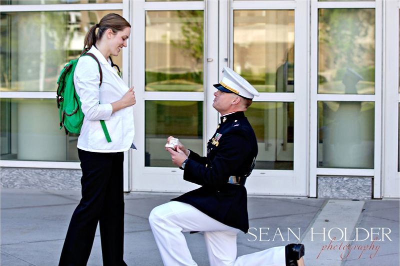 Marine on knee proposing to PA student on EVMS campus.