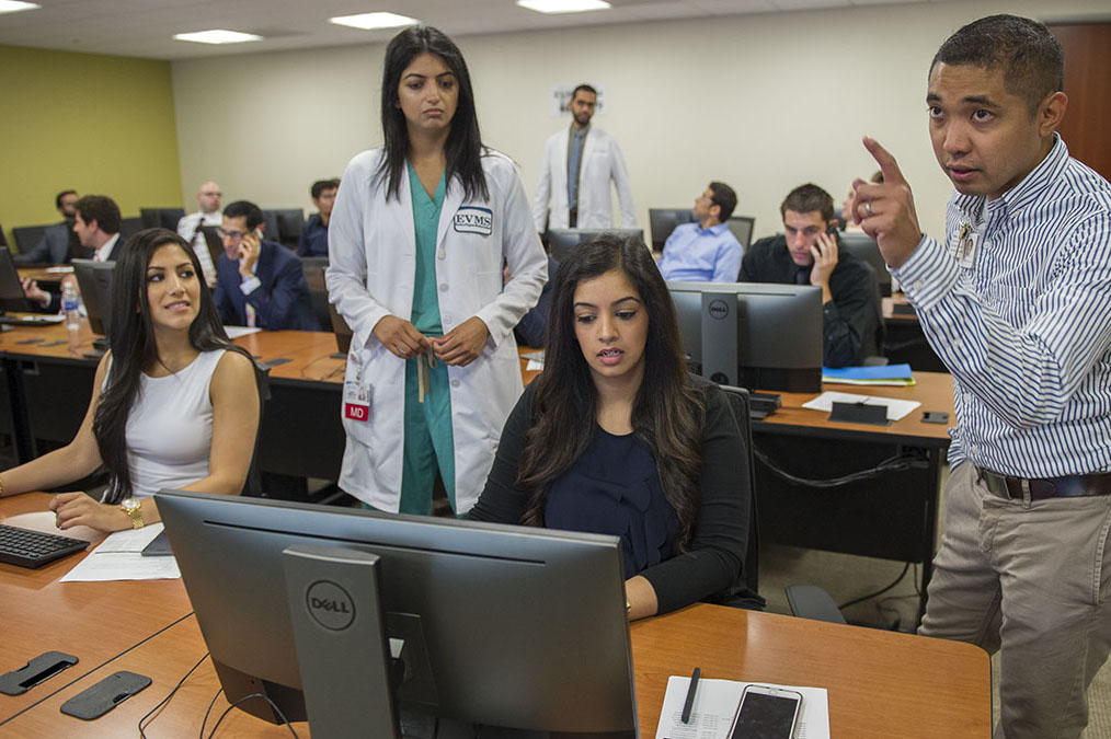 Internal medicine residents sat through orientation at the EVMS Library June 23. They were among more than 100 new residents who are just beginning their specialty training.