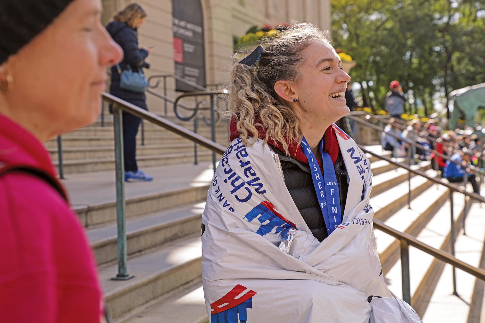 A side profile of Megan Cunningham after her race.