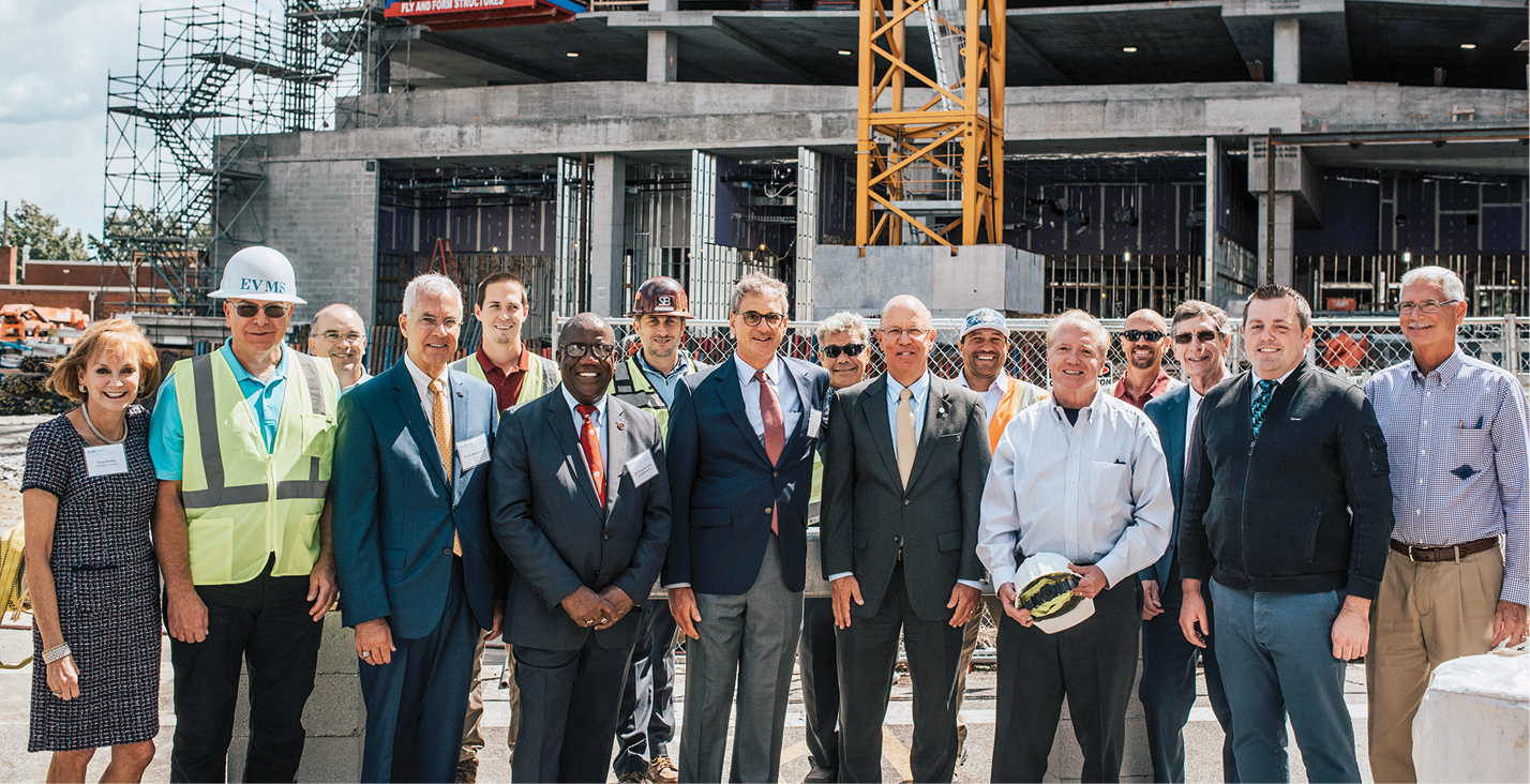 Donors and legislators joined EVMS leaders, architects and builder representatives at the topping-off ceremony in September 2019.