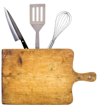 Cutting board with kitchen utensils