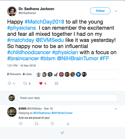 A tweet from Dr. Sadhana Jackson