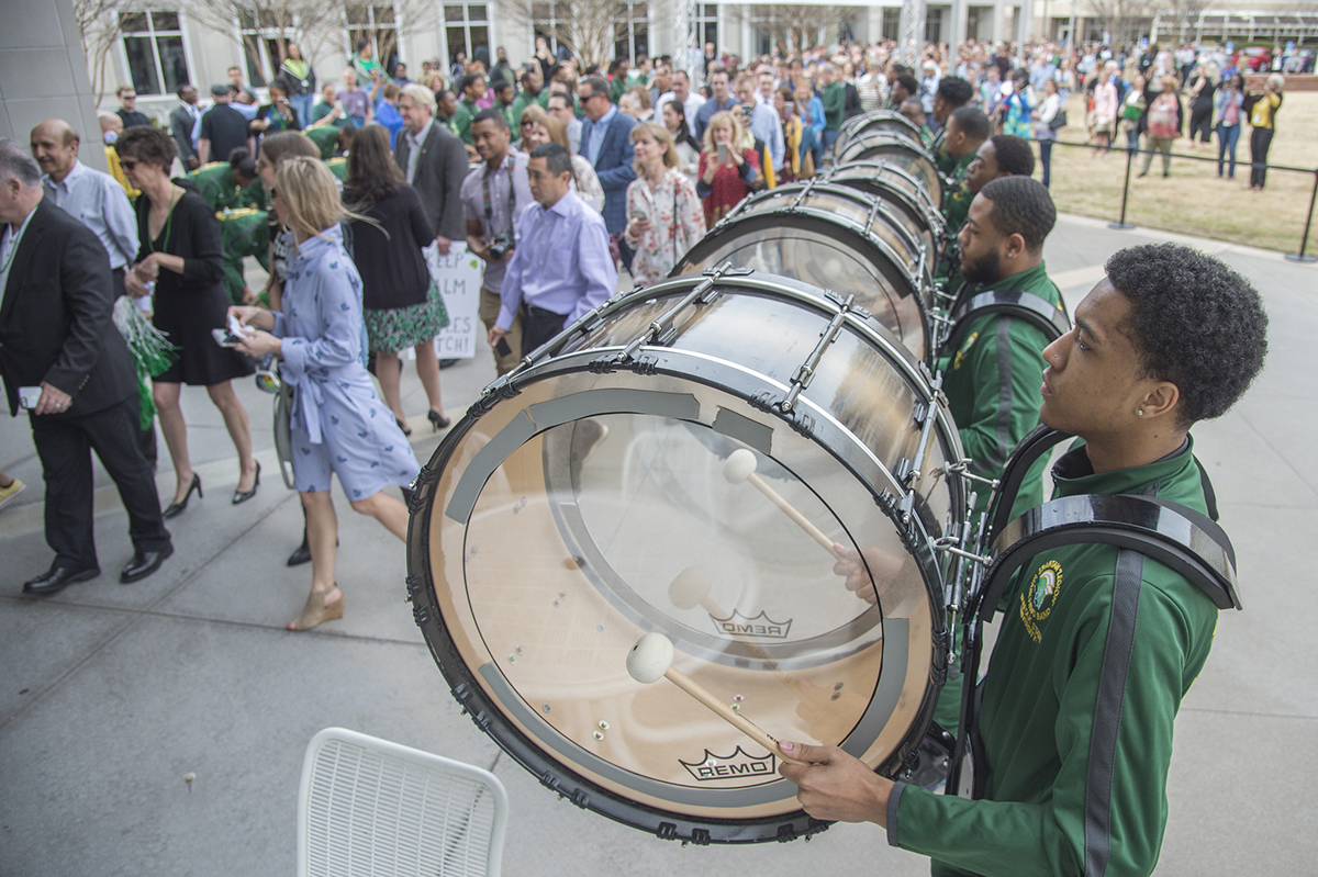 The Norfolk State University drumline performs at Match Day 2019.
