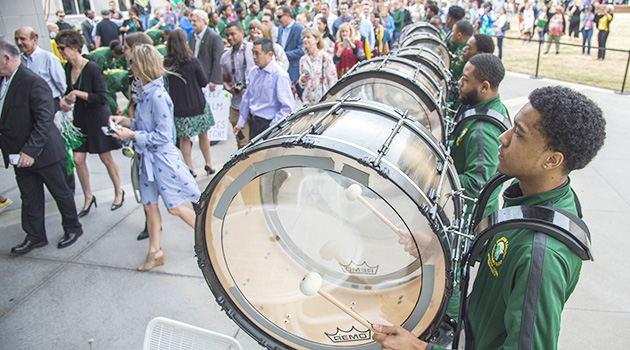 The Norfolk State University drumline performs at Match Day 2019