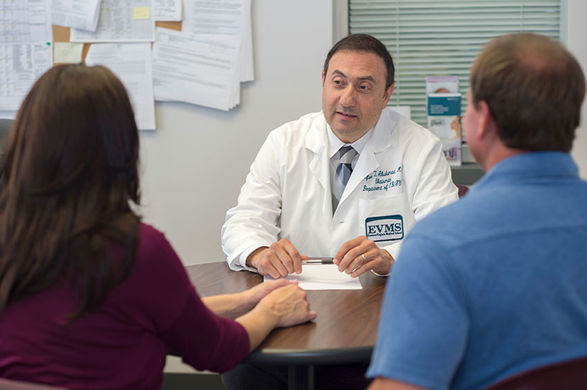 Dr. Abuhamad speaking with patients
