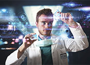 Mock up of doctor using hologram technology