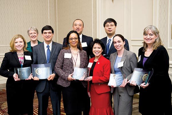 Image of 2016 Health Care Heroes Awards, From left to right: Kelli England Will, PhD, Christine Matson, MD, Hamid Okhravi, MD, BTWHS Principal, Joseph Han, MD, Cynthia Romero, MD, Ian Chen, MD, MPH, Deborah Morris, MD.