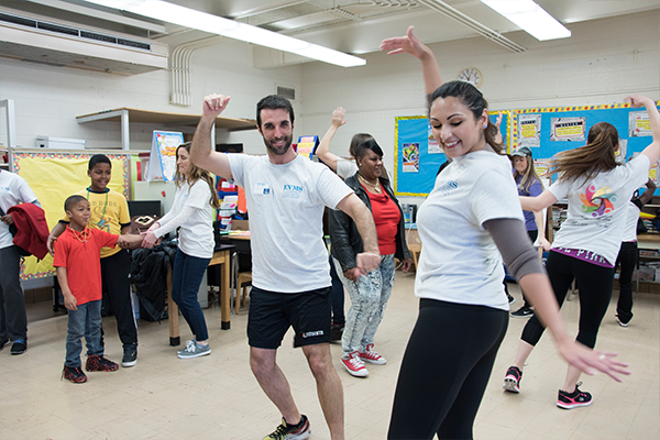 EVMS students engage with Tidewater Park Elementary students in zumba.