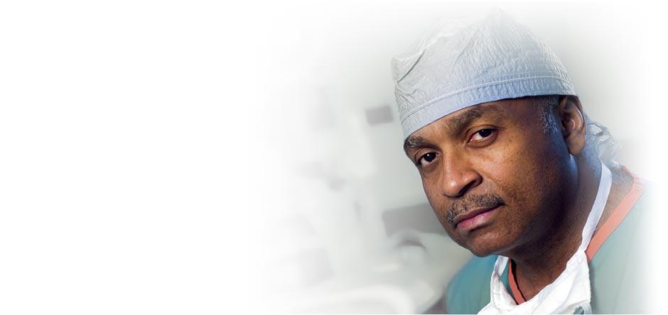 Dr. L.D. Britt in surgical scrubs