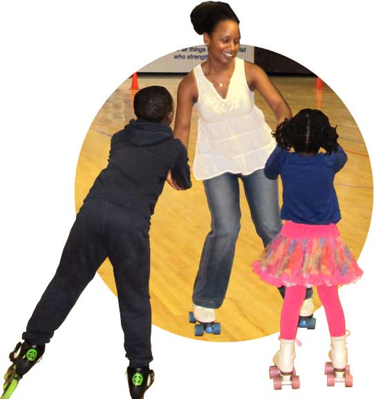 Kimberly Salkey skating with her children.