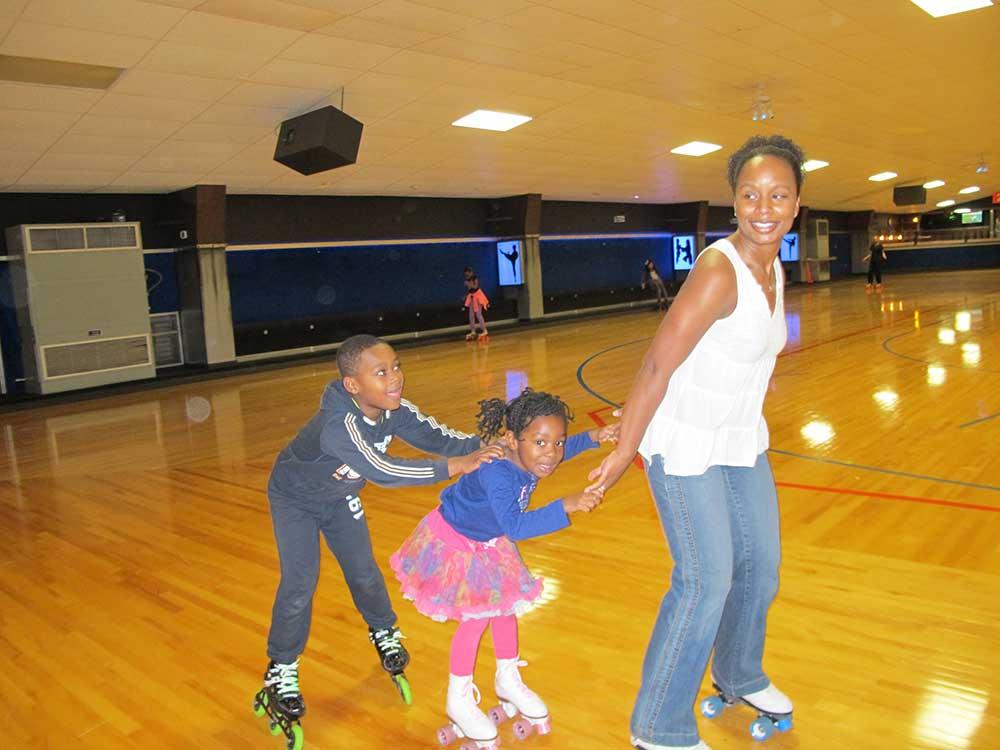 Dr. Salkey skates with her children.