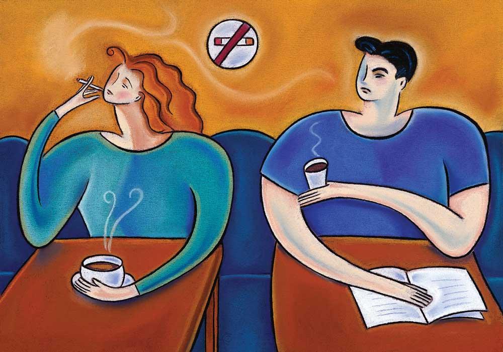 Woman smoking in next to an annoyed man.