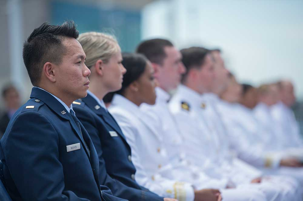 Newly commissioned Air Force and Naval Officers.