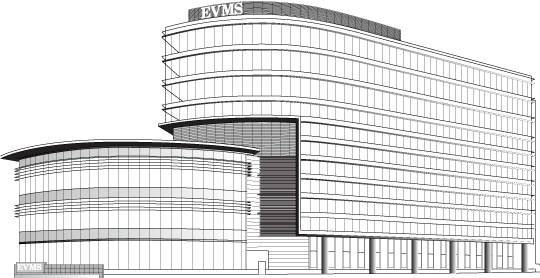 Line drawing of new building
